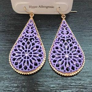 Jewelry - NWT Purple & Gold Statement Earrings!